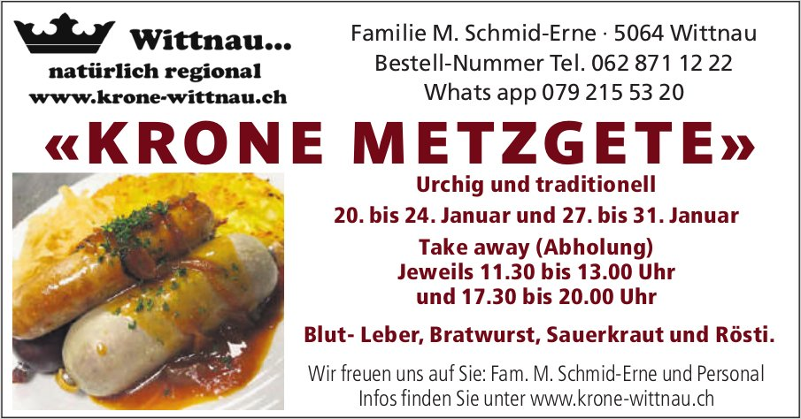 Krone Wittnau - «Krone Metzgete», 20.-24. und 27.-31. Januar