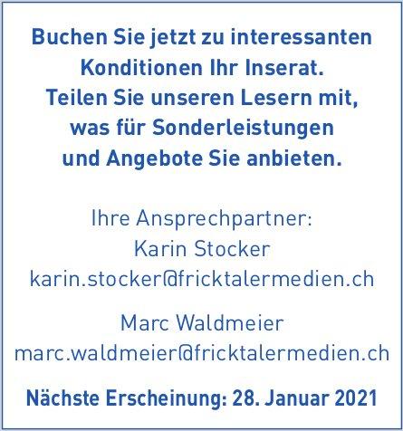 NFZ / Fricktaler Medien AG - Buchen Sie jetzt zu interessanten Konditionen Ihr Inserat.