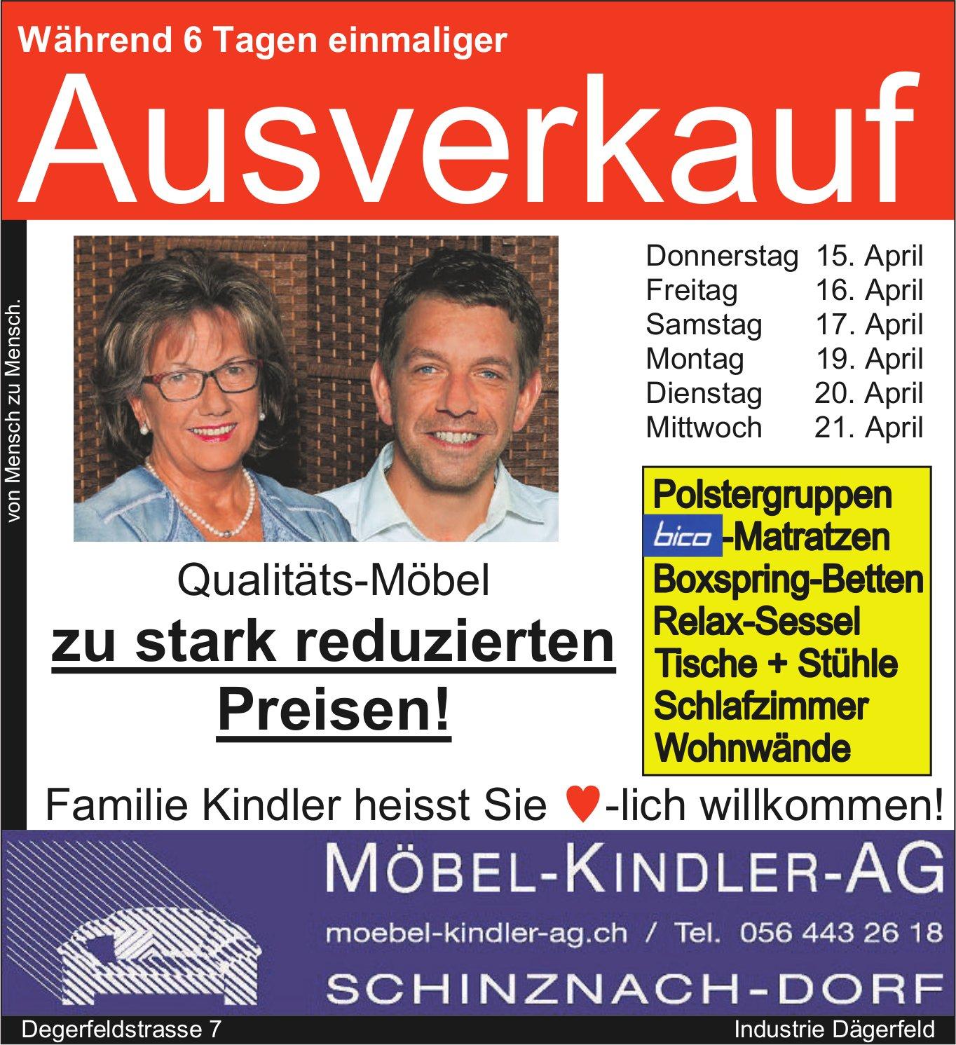 Möbel-Kindler-AG - Während 6 Tagen einmaliger Ausverkauf, bis 21. April