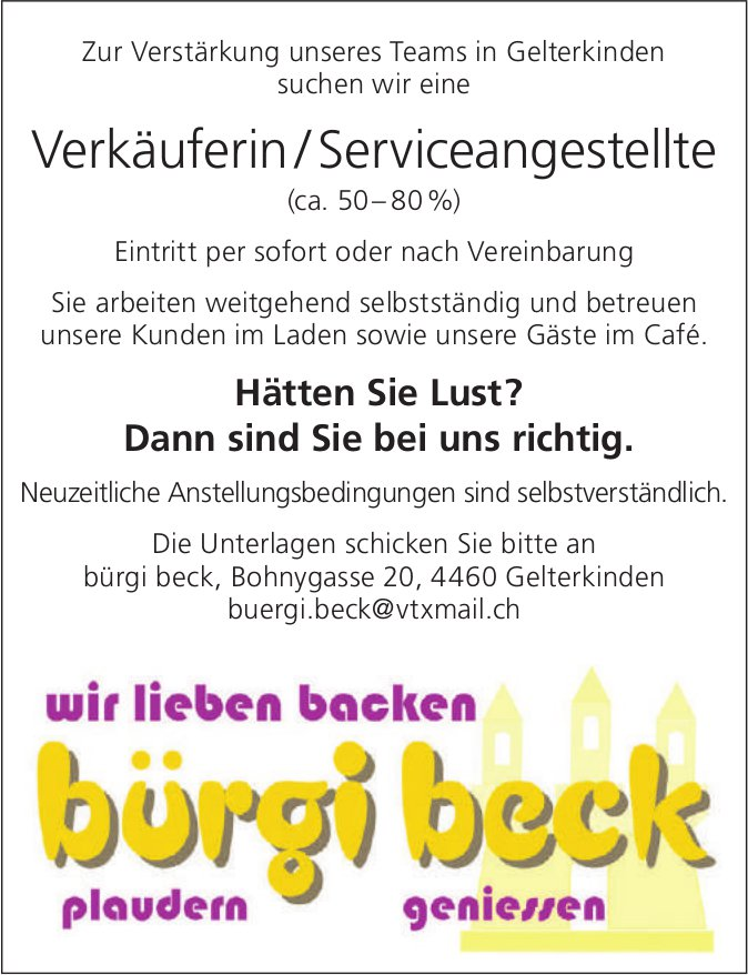 Verkäuferin/Serviceangestellte (ca. 50– 80 %), Bürgi Beck, Gelterkinden, gesucht