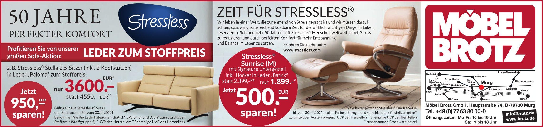 Zeit für Stressless, bis 30. November, Möbel Brotz GmbH, Murg