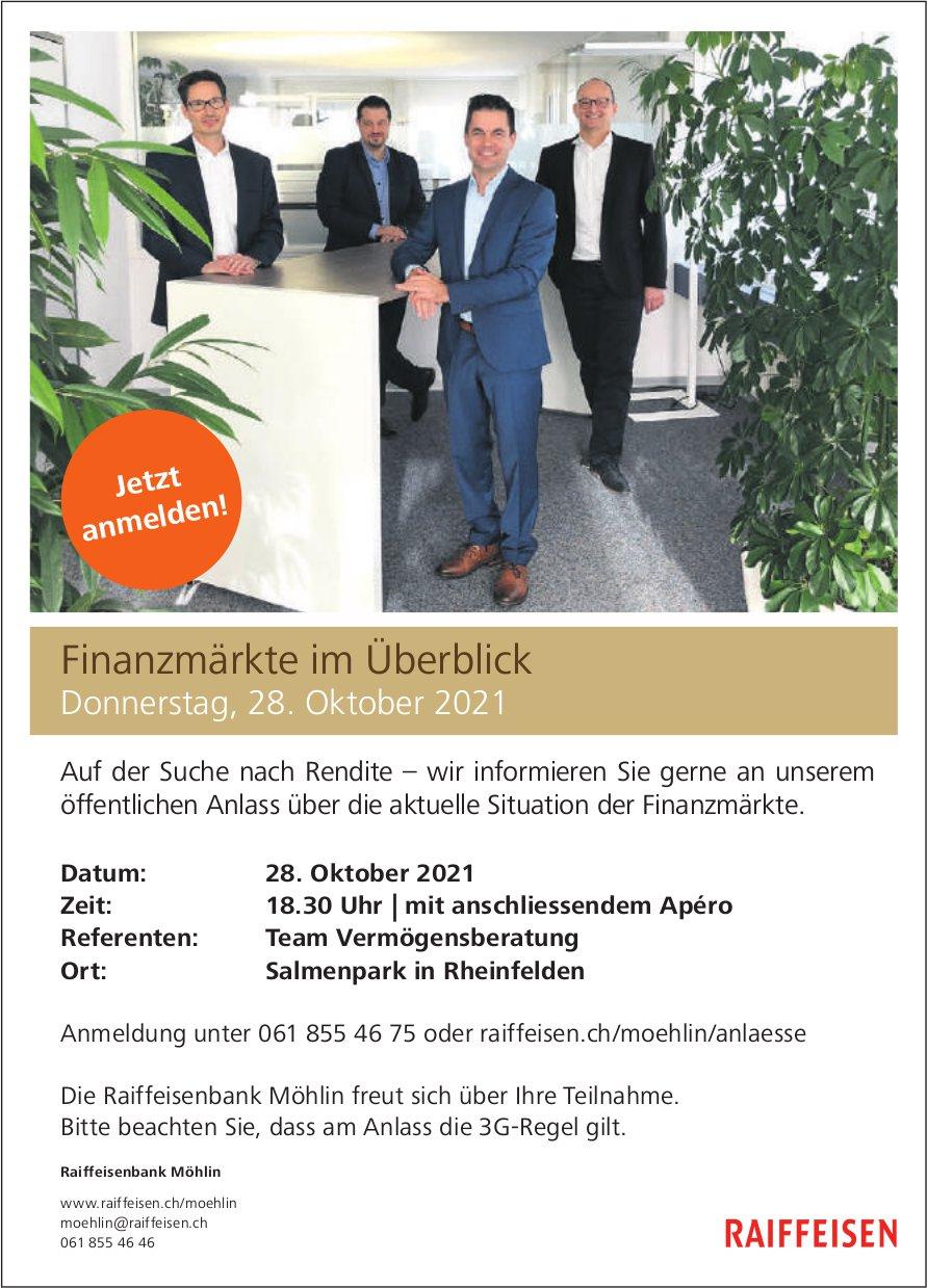 Finanzmärkte im Überblick, 28. Oktober, Raiffeisenbank Möhlin