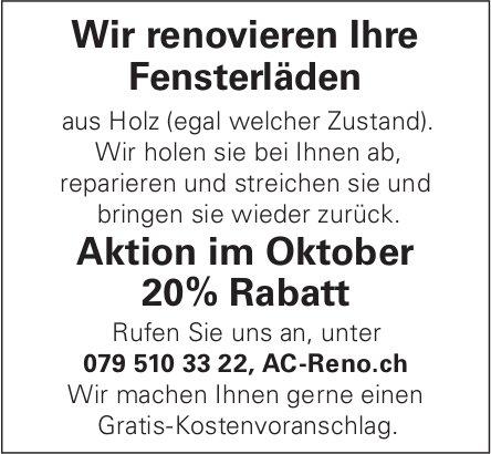 Ac Reno - Wir renovieren Ihre Fensterläden Aktion im Oktober 20% Rabatt