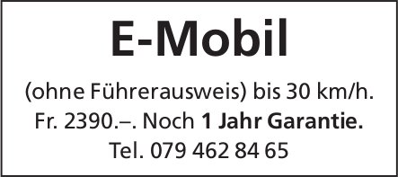 E-Mobil (ohne Führerausweis) bis 30 km/h.