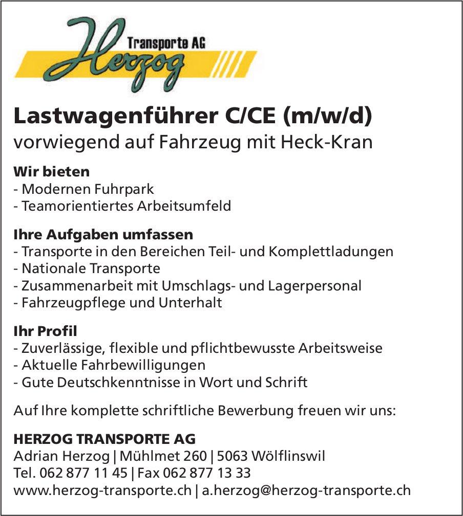 Lastwagenführer C/CE (m/w/d), Herzog Transporte AG, Wölflinswil, gesucht
