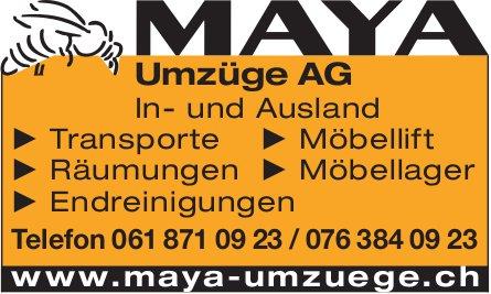 MAYA Umzüge AG, In- und Ausland