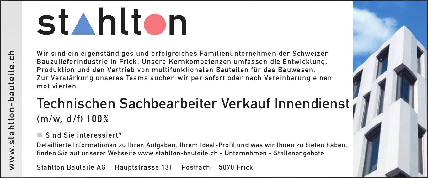 Technischen Sachbearbeiter Verkauf Innendienst (m/w, d/f) 100 %, Stahlton Bauteile AG, Frick, gesucht