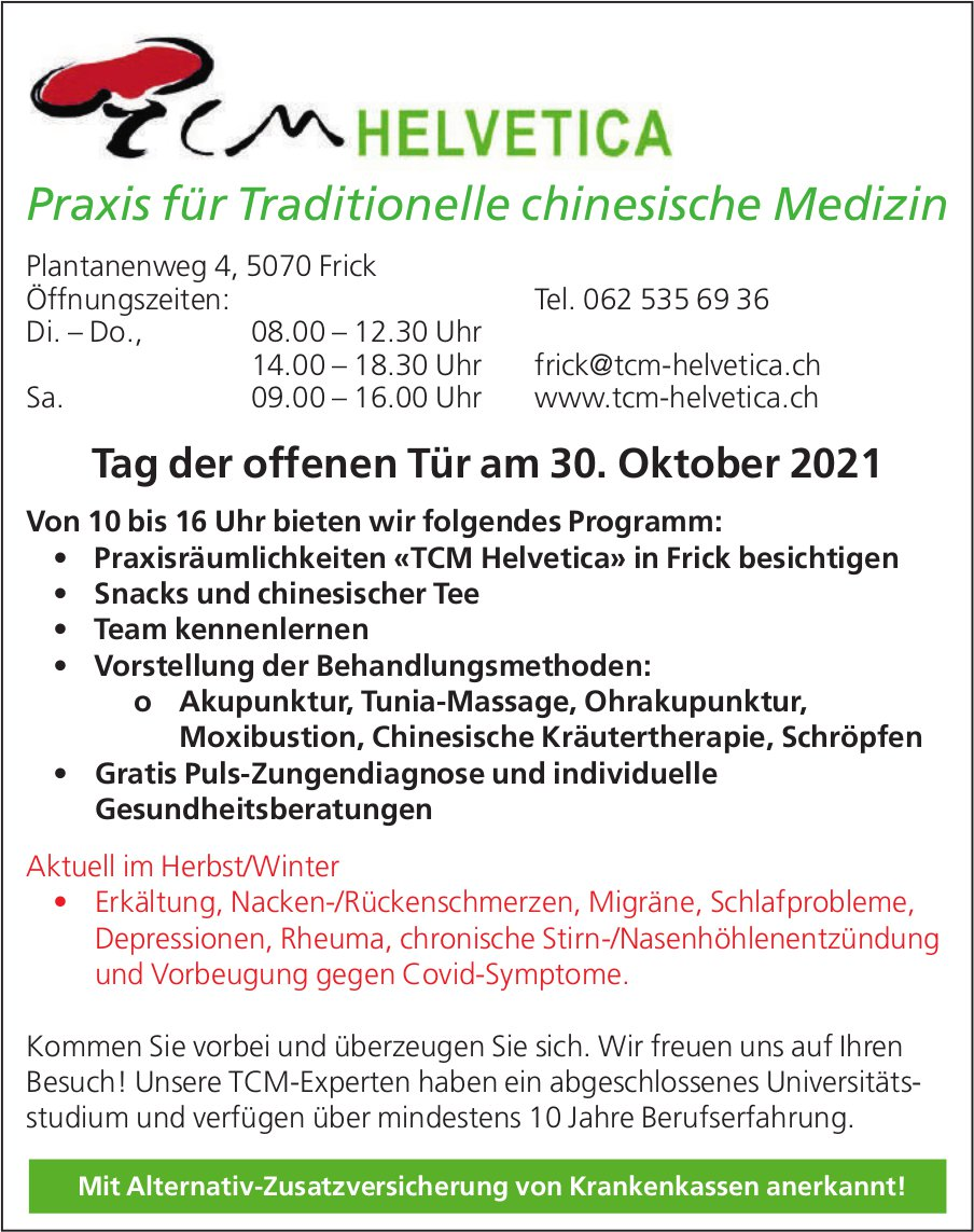 Tag der offenen Tür, 30. Oktober, TCM Helvetica, Frick