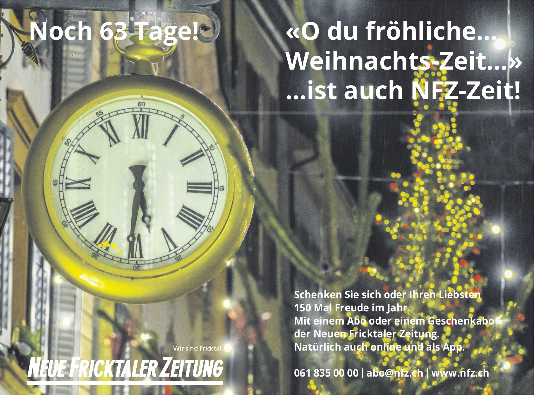 Noch 63 Tage! «O du fröhliche… Weihnachts-Zeit…» …ist auch NFZ-Zeit!