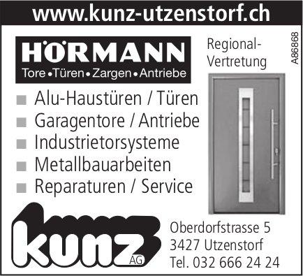 Kunz AG, Utzenstorf - HÖRMANN Tore, Türen, Zargen, Antriebe