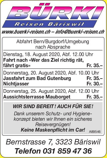 Programm & Events, Bürki Reisen Bäriswil