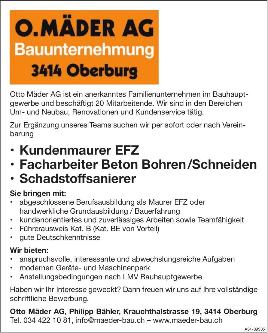 Kundenmaurer EFZ, Facharbeiter Beton Bohren /Schneiden, Schadstoffsanierer, Otto Mäder AG, gesucht