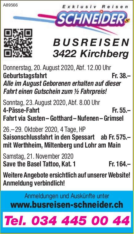 Programm & Events, Busreisen Schneider, Kirchberg