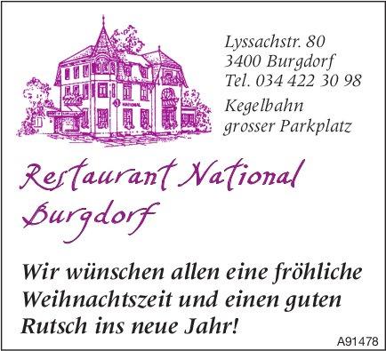 Restaurant National Burgdorf - Wir wünschen allen eine fröhliche Weihnachtszeit und einen guten Rutsch ins neue Jahr!