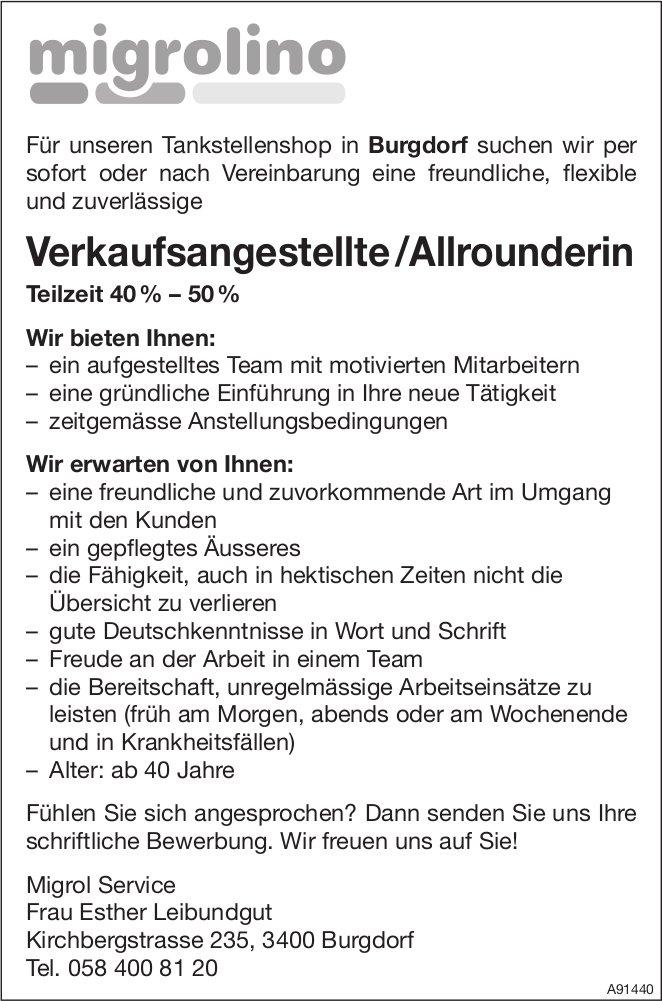 Verkaufsangestellte /Allrounderin Teilzeit 40%–50 %, Migrol Service, Burgdorf, gesucht