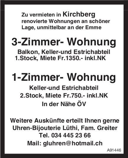 3-Zimmer- Wohnung/ 1-Zimmer- Wohnung, Kirchberg, zu vermieten