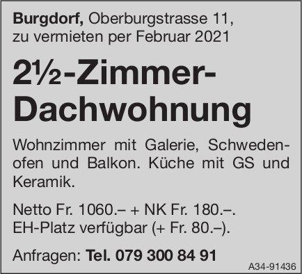 2½-Zimmer- Dachwohnung, Burgdorf, zu vermieten
