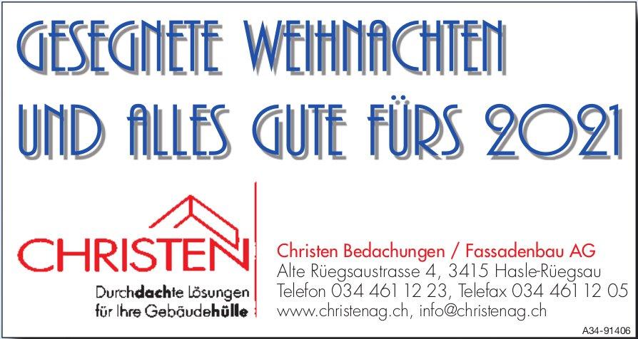 Christen Bedachungen / Fassadenbau AG, Hasle-Rüegsau - Gesegnete Weihnachten Und Alles Gute Fürs 2021