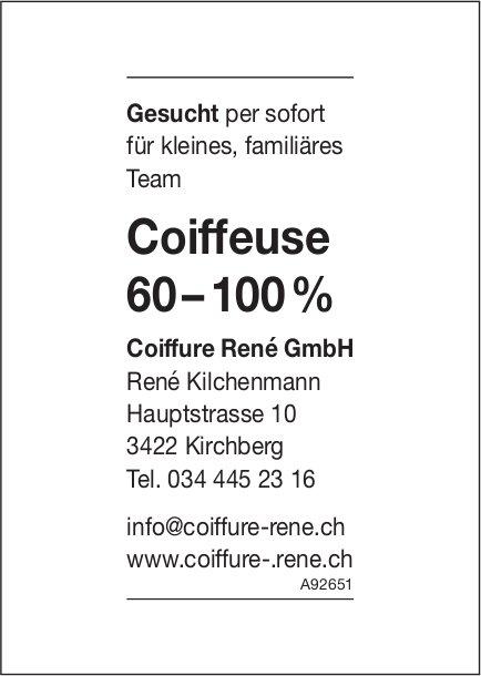 Coiffeuse 60 – 100 %, Coiffure Rene GmbH, Kirchberg, gesucht
