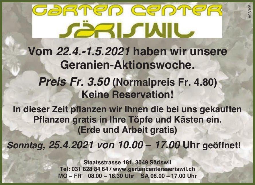Garten Center  Säriswil - Vom 22.4.-1.5.2021 haben wir unsere Geranien-Aktionswoche.