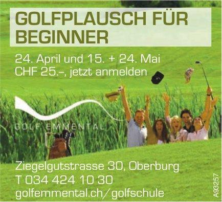 Golf Emmental - Golfplausch für Beginner, 10. + 24. April und 15. + 24. Mai