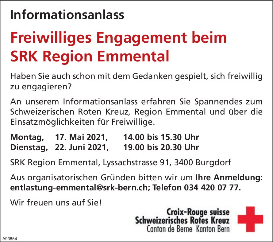 Freiwilliges Engagement beim SRK Region Emmental: Informationsanlass, 17. Mai +  22. Juni, Burgdorf