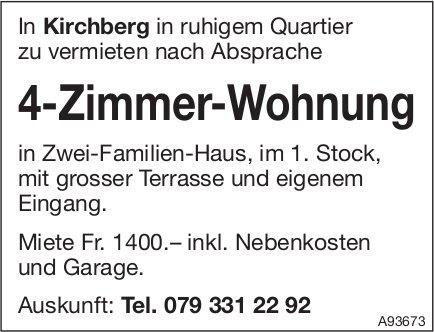 4-Zimmer-Wohnung, Kirchberg, zu vermieten