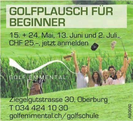 Golf Emmental - Golfplausch für Beginner, 15. + 24.Mai, 13. Juni und 2. Juli
