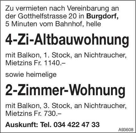 4-Zi-Altbauwohnung sowie 2-Zimmer-Wohnung, Burgdorf, zu vermieten