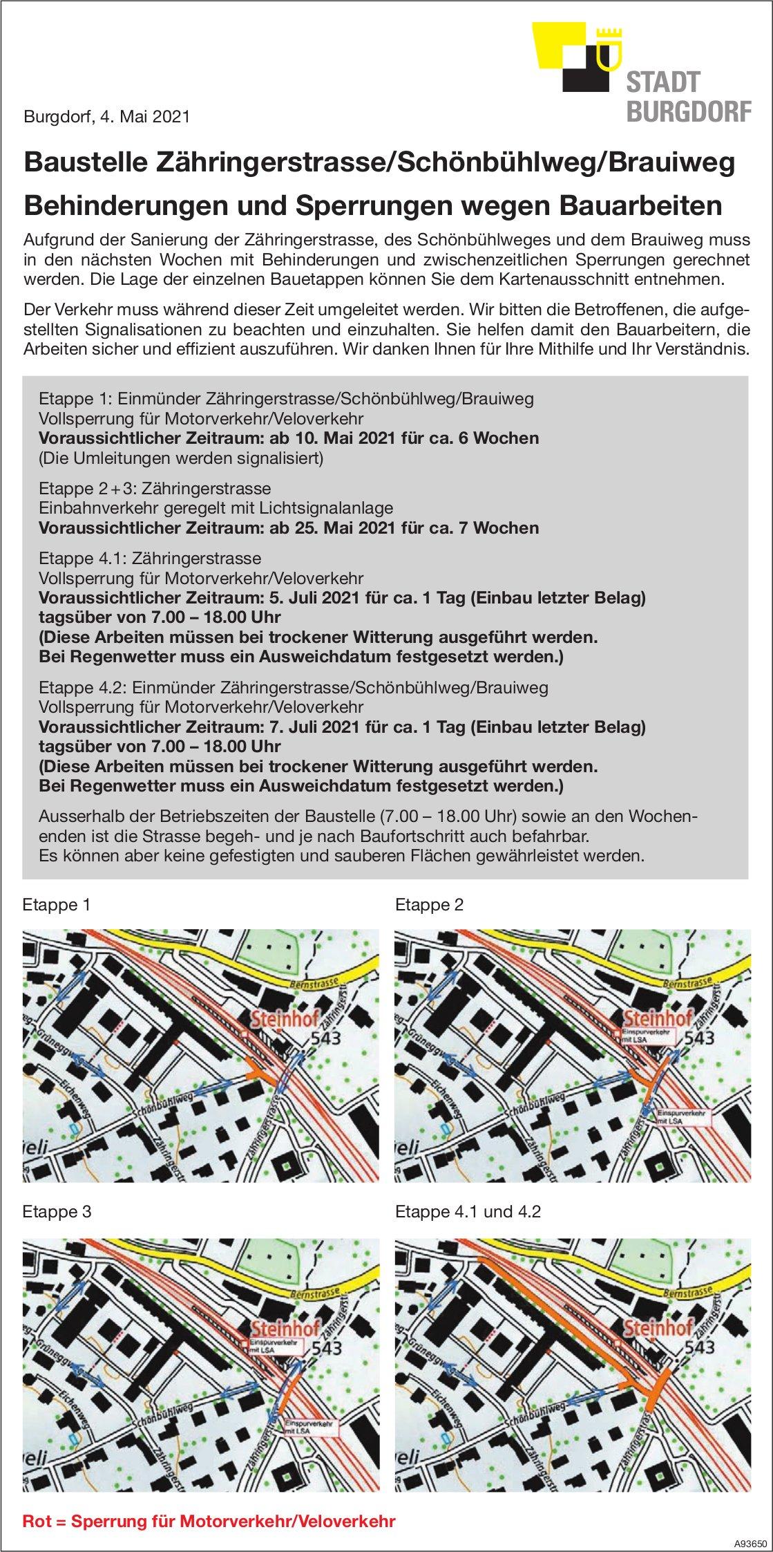 Stadt Burgdorf - Baustelle Zähringerstrasse/Schönbühlweg/Brauiweg, Behinderungen und Sperrungen wegen Bauarbeiten