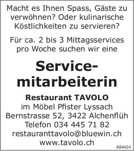 Service- mitarbeiterin, Restaurant Tavolo, Alchenflüh, gesucht