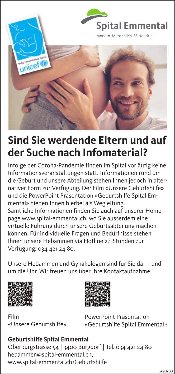 Geburtshilfe Spital Emmental, Burgdorf - Sind Sie werdende Eltern und auf der Suche nach Infomaterial?