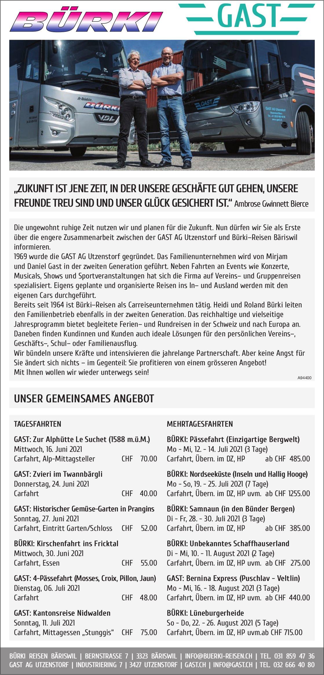 Bürki Reisen Bäriswil + Gast - Unser gemeinsames Angebot