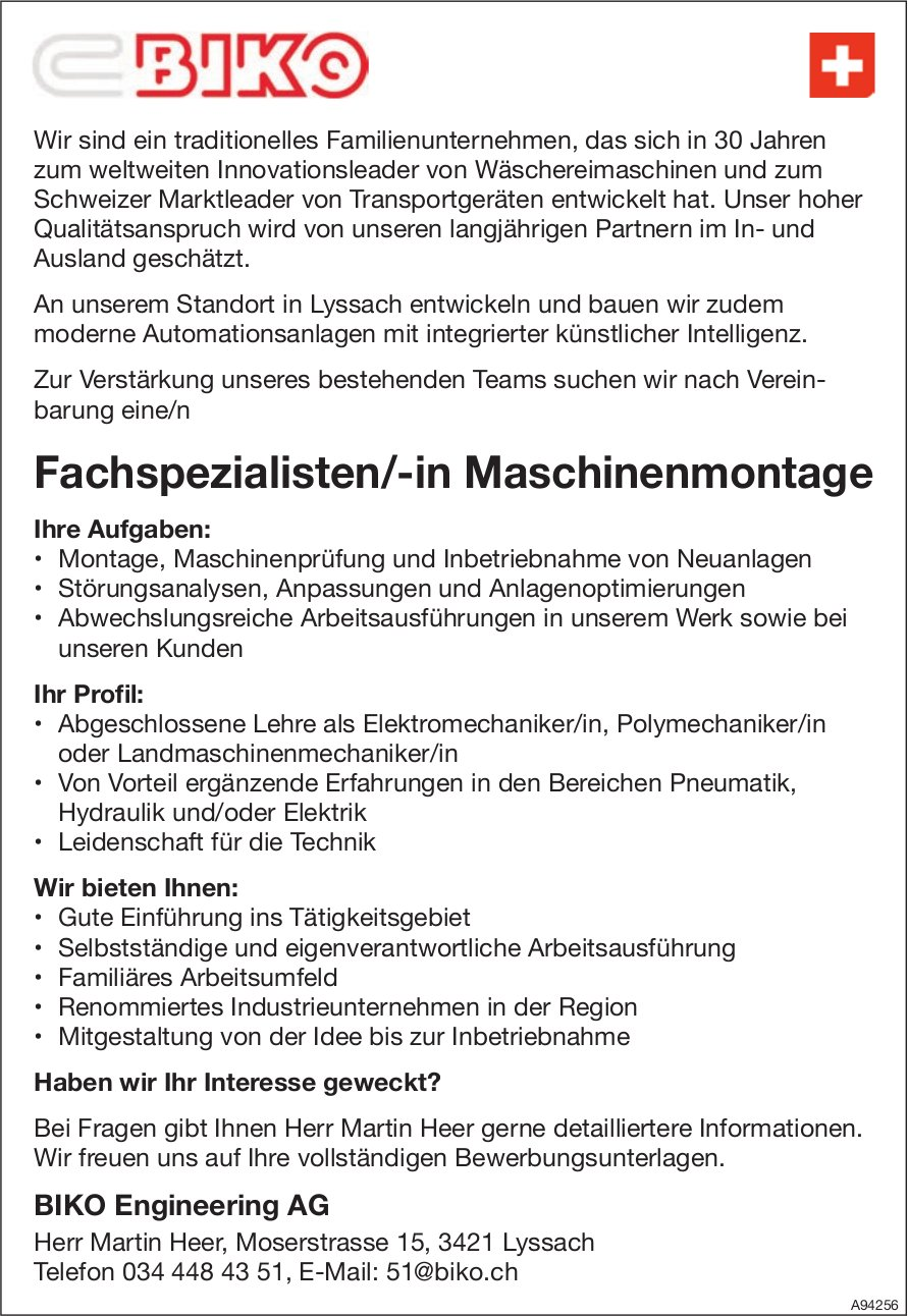 Fachspezialisten/-in Maschinenmontage, BIKO Engineering AG, Lyssach, gesucht
