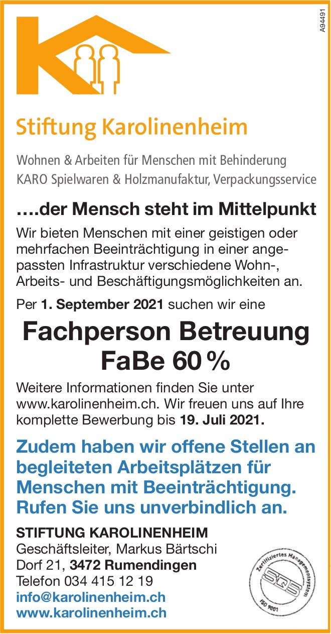 Fachperson Betreuung FaBe 60 %, Stiftung Karolinenheim, Rumendingen, gesucht