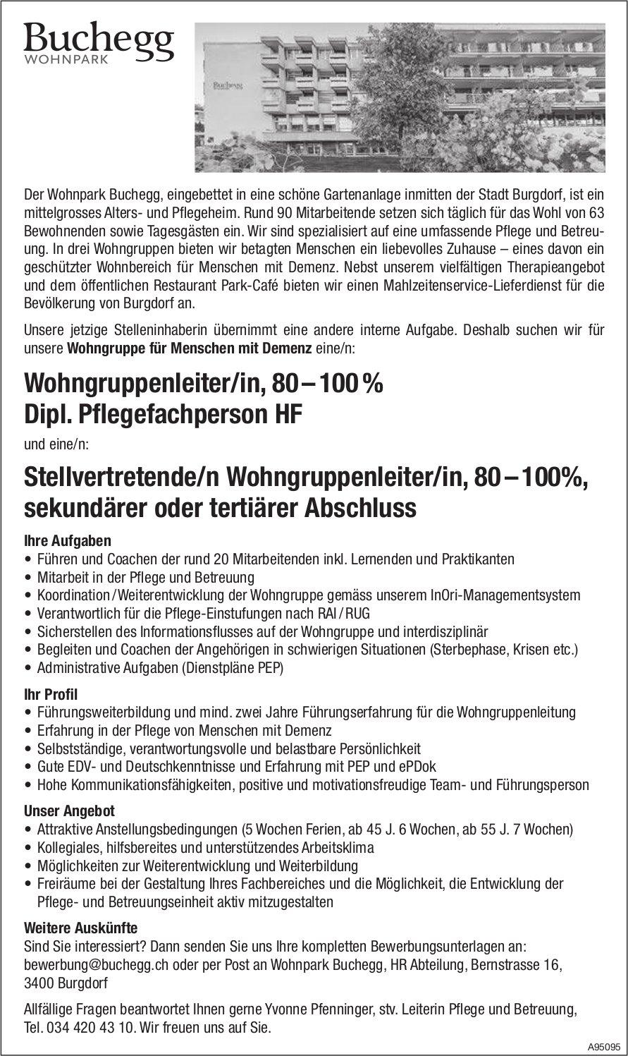 Wohngruppenleiter/in, 80 – 100 % Dipl. Pflegefachperson HF & Stellvertretende/n Wohngruppenleiter/in,  80 – 100%,  sekundärer oder tertiärer Abschluss, Wohnpark Buchegg, Burgdorf,  gesucht