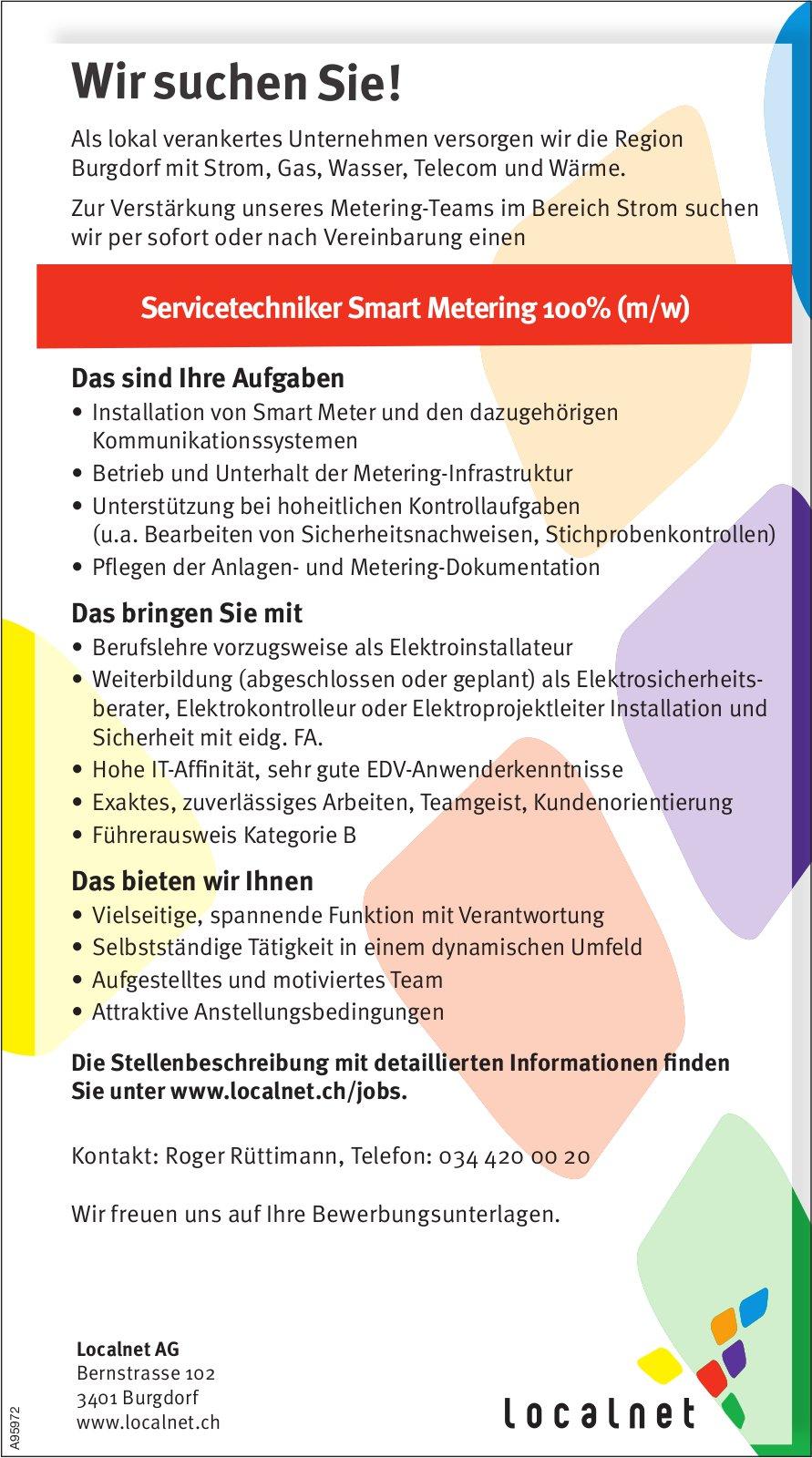 Servicetechniker Smart Metering 100% (m/w), Localnet AG, Burgdorf, gesucht