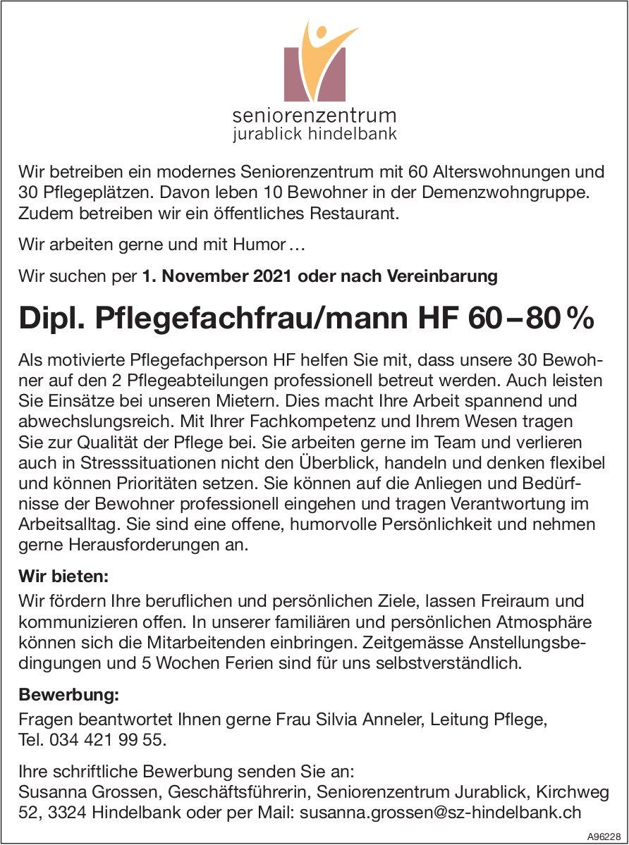Dipl. Pflegefachfrau/mann HF 60 – 80 %, Seniorenzentrum Jurablick, Hindelbank, gesucht