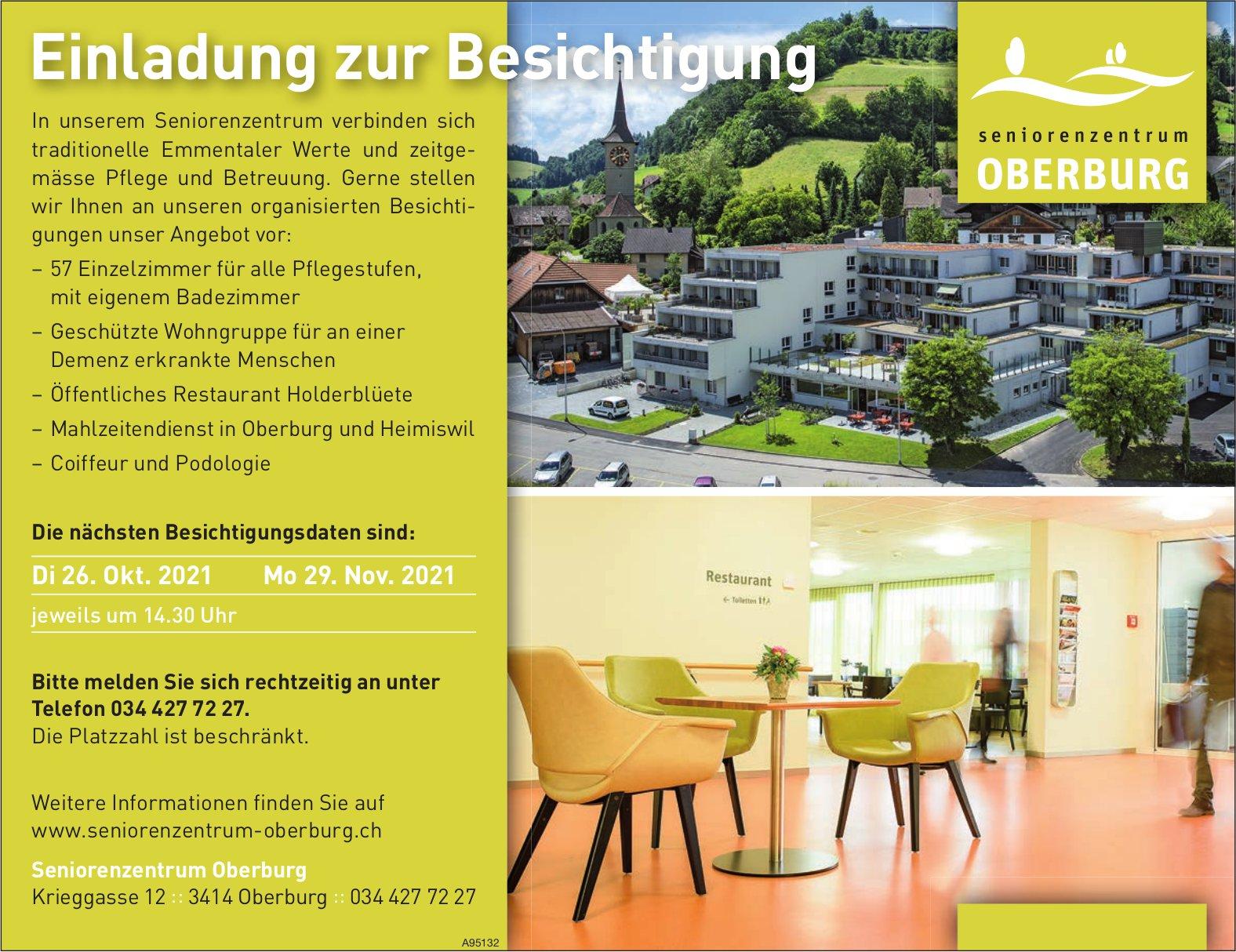 Seniorenzentrum Oberburg - Einladung zur Besichtigung, 26. Oktober und 29. November