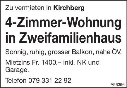 4-Zimmer-Wohnung in Zweifamilienhaus, Kirchberg, zu vermieten