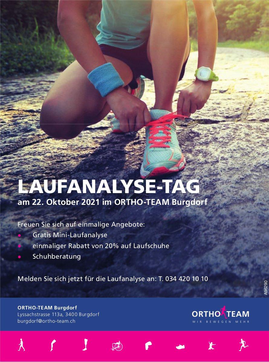 Laufanalyse-Tag am 22. Oktober 2021 im Ortho-Team Burgdorf