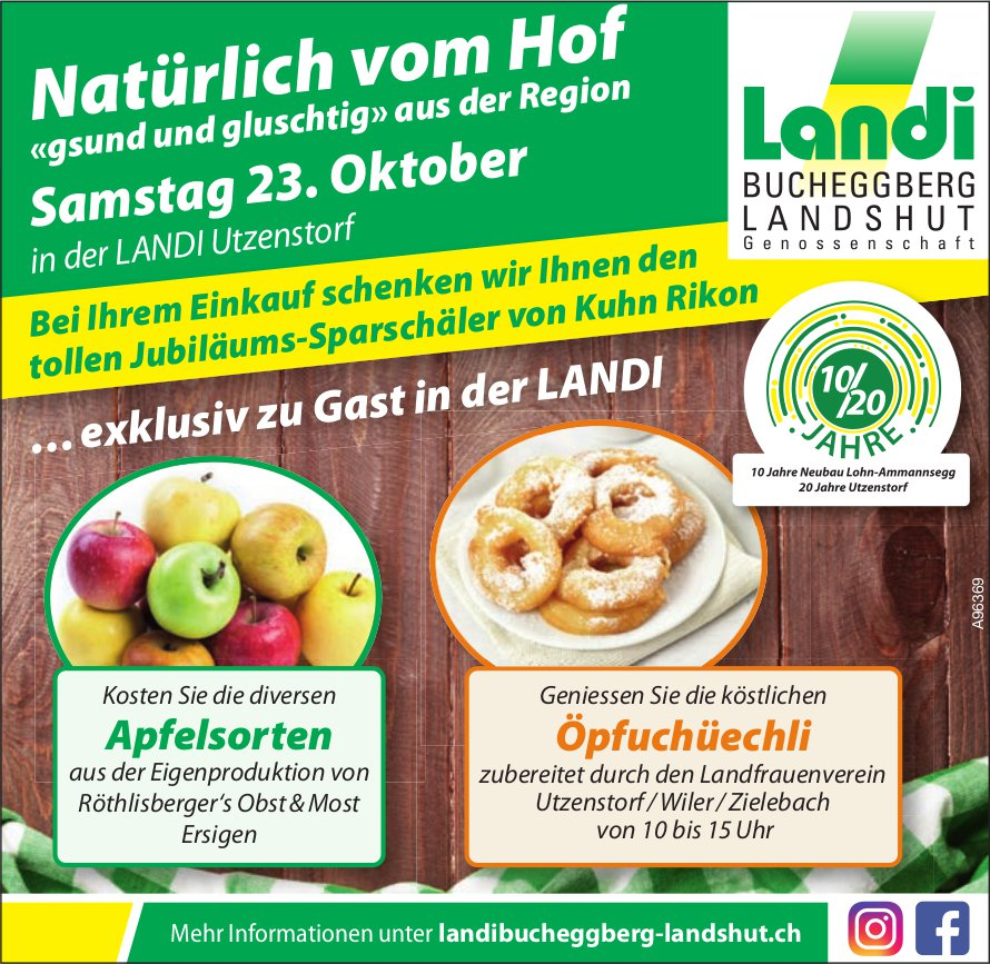 """Berner Weinmesse - Natürlich vom Hof """"gsund und gluschtig"""" aus der Region, 23. Oktober, Utzenstorf"""