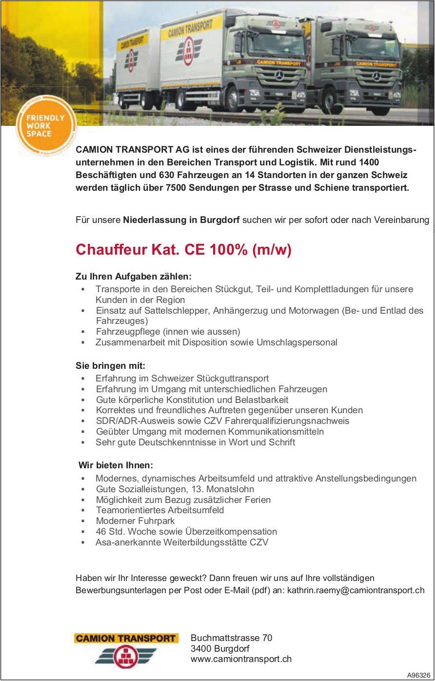 Chauffeur Kat. CE 100% (m/w), Camion Transport AG, Burgdorf, gesucht