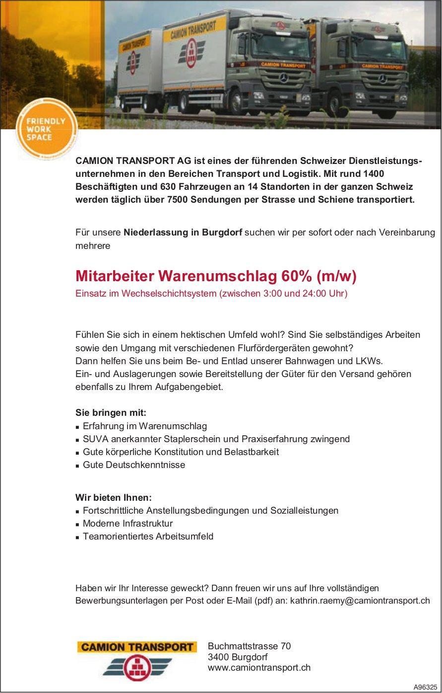 Mitarbeiter Warenumschlag 60% (m/w), Camion Transport AG, Burgdorf, gesucht