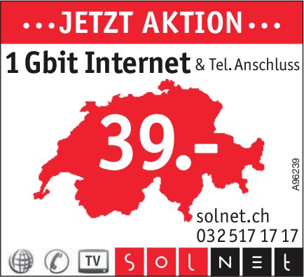 Solnet, ...jetzt Aktion... 1 Gbit Internet & Tel. Anschluss