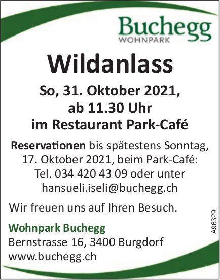 Buchegg Wohnpark - Wildanlass, 31. Oktober, Burgdorf