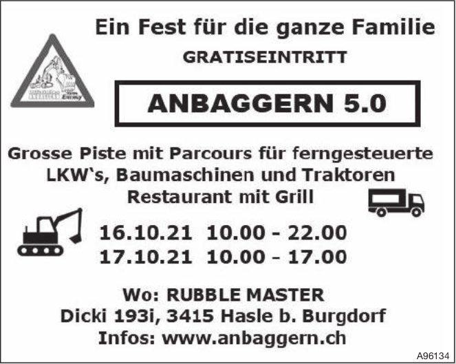 Rubble Master - Ein Fest für die ganze Familie Gratiseintritt: Anbaggern 5.0, 16./17. Oktober