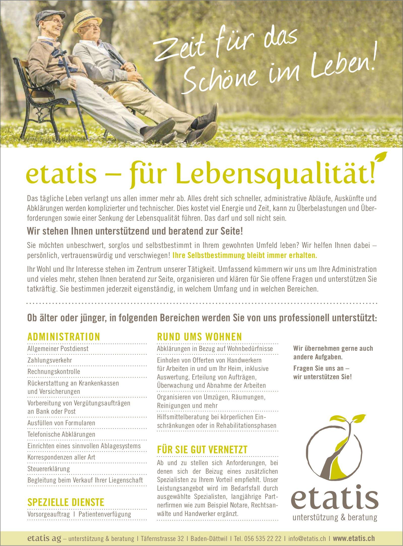 etatis – für Lebensqualität!