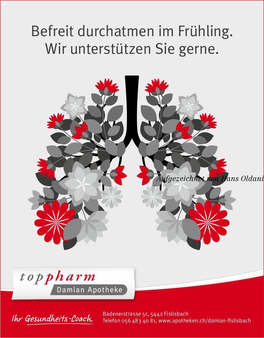 Toppharm Damian Apotheke, Fislisbach - Befreit durchatmen im Frühling. Wir unterstützen Sie gerne.