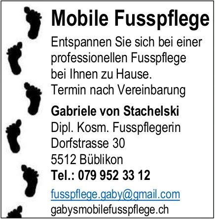 Mobile Fusspflege Gabriele von Stachelski - Professionellen Fusspflege bei Ihnen zu Hause.